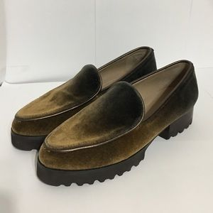 DONALD J PLINER BROWN ELEN VELVET OMBRE LOAFERS 7